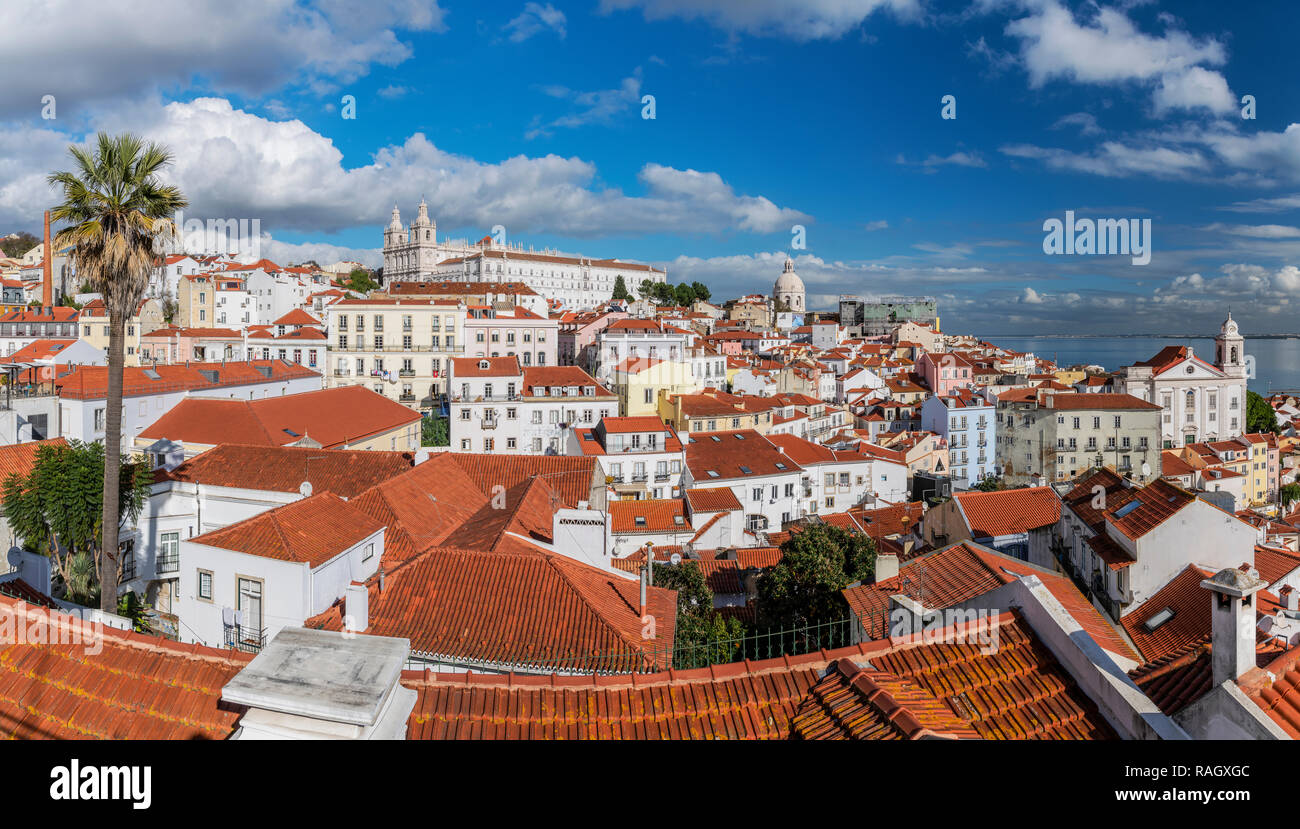 Panoramic view over Alfama district skyline, Lisbon, Portugal - Stock Image