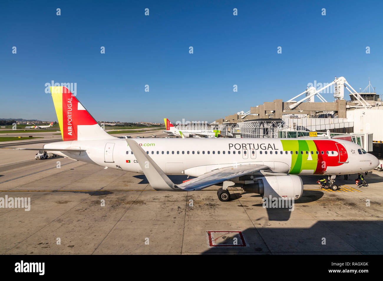 TAP Air Portugal Airbus A320 with winglets, Lisbon international airport, Lisbon, Portugal - Stock Image