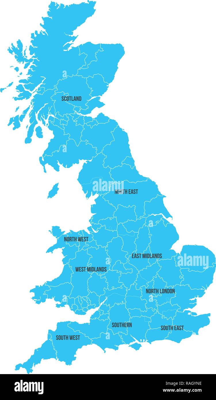 United Kingdom. Great Britan map. Vector map isolated on white background - Stock Vector