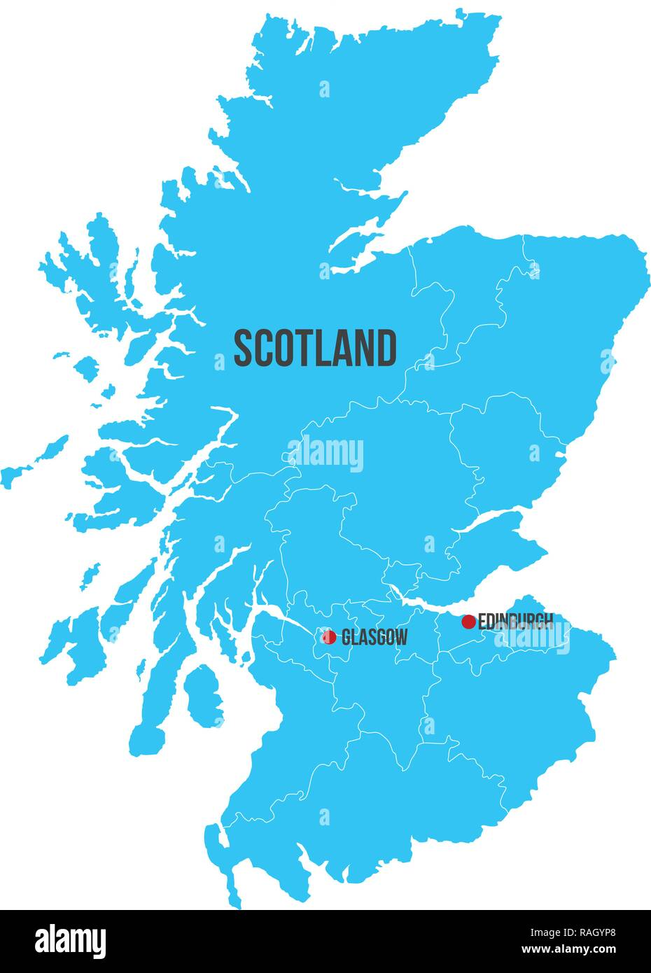 Scotland vector map silhouette isolated on white background. High detailed silhouette illustration. clean design - Stock Vector
