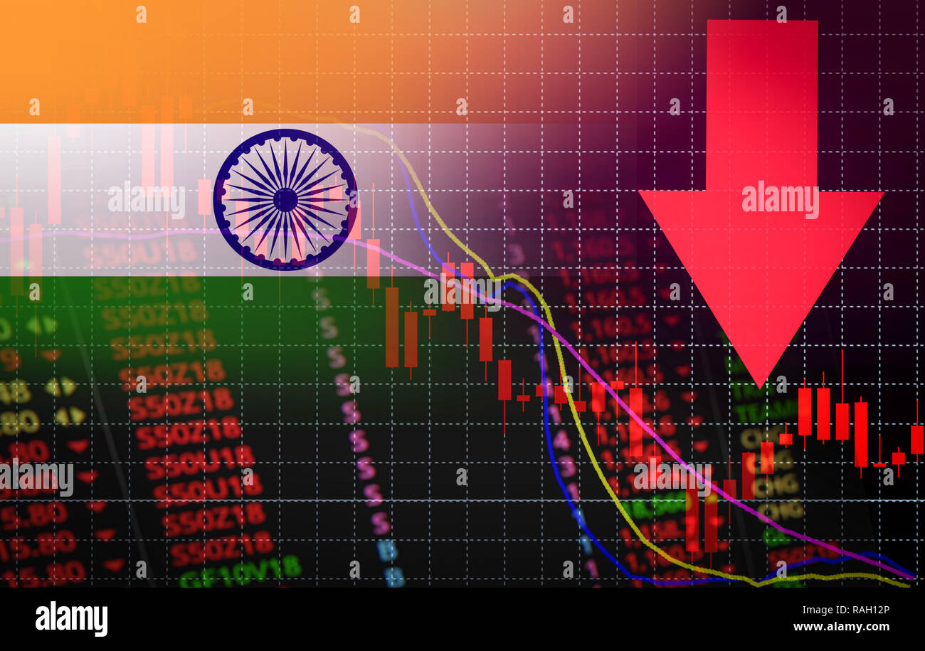 India Bombay Stock Exchange market crisis red market price down chart fall / Stock analysis or
