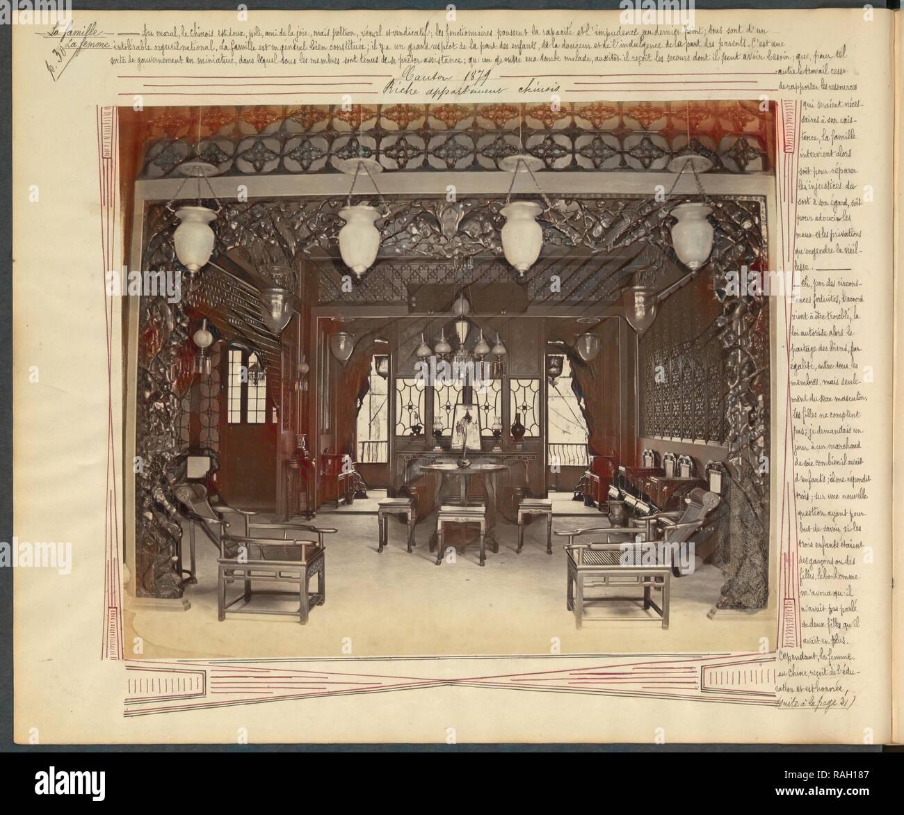 Canton, riche appartement chinois, Chine-Japon photographic album, Prat, G., Albumen, 1879. Reimagined - Stock Image