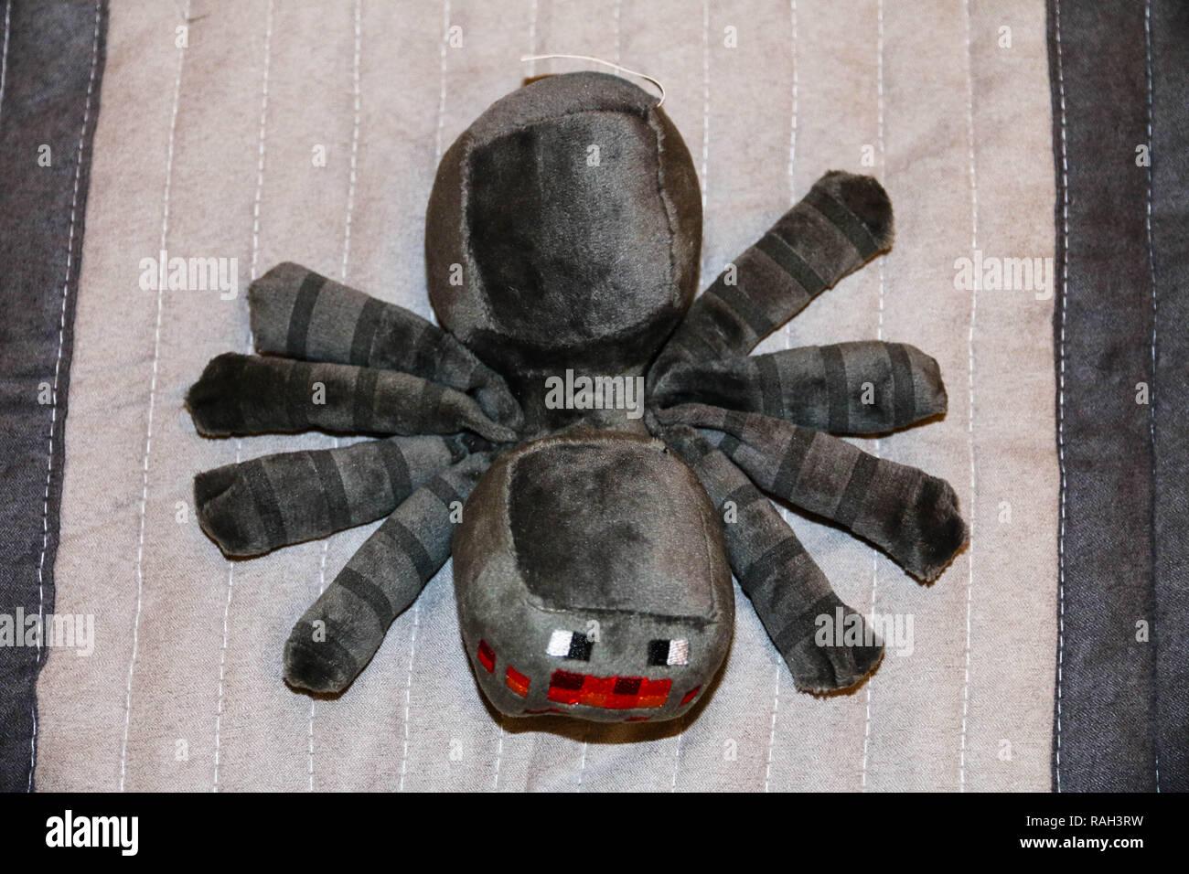 Minecraft spider plush - Stock Image