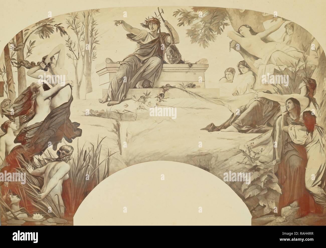 La Musique dramatique, Louis-Émile Durandelle (French, 1839 - 1917), Paris, France, about 1875, Albumen silver print reimagined - Stock Image