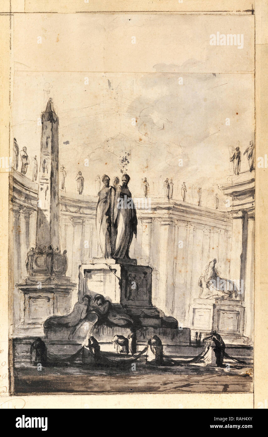 Louis-Joseph Le Lorrain, Architectural Fantasy with Fountain and Obelisk, Circa 1745, Black chalk, brush, gray wash on paper, Cooper Hewitt, Smithsonian Design Museum, USA. - Stock Image