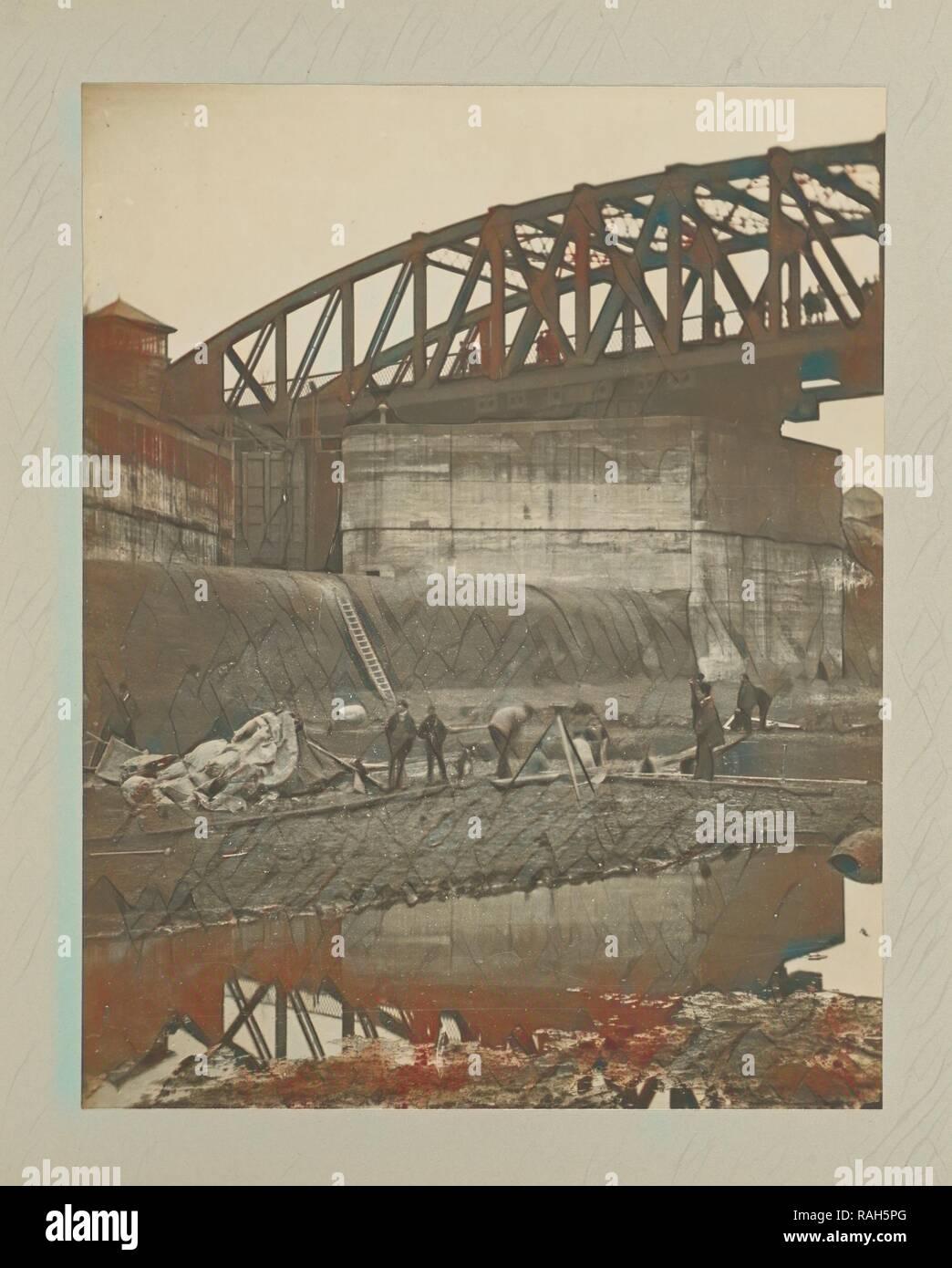 Stockton Heath - Cutting under Swing Bridge, G. Herbert & Horace C. Bayley, Manchester, England, negative November reimagined - Stock Image