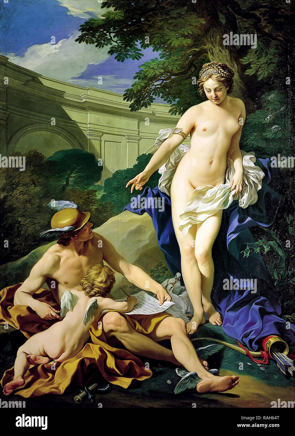Louis-Michel van Loo, Venus, Mercury and Amor 1748 Oil on canvas, Real Academia de Bellas Artes de San Fernando, Madrid, Spain. - Stock Image