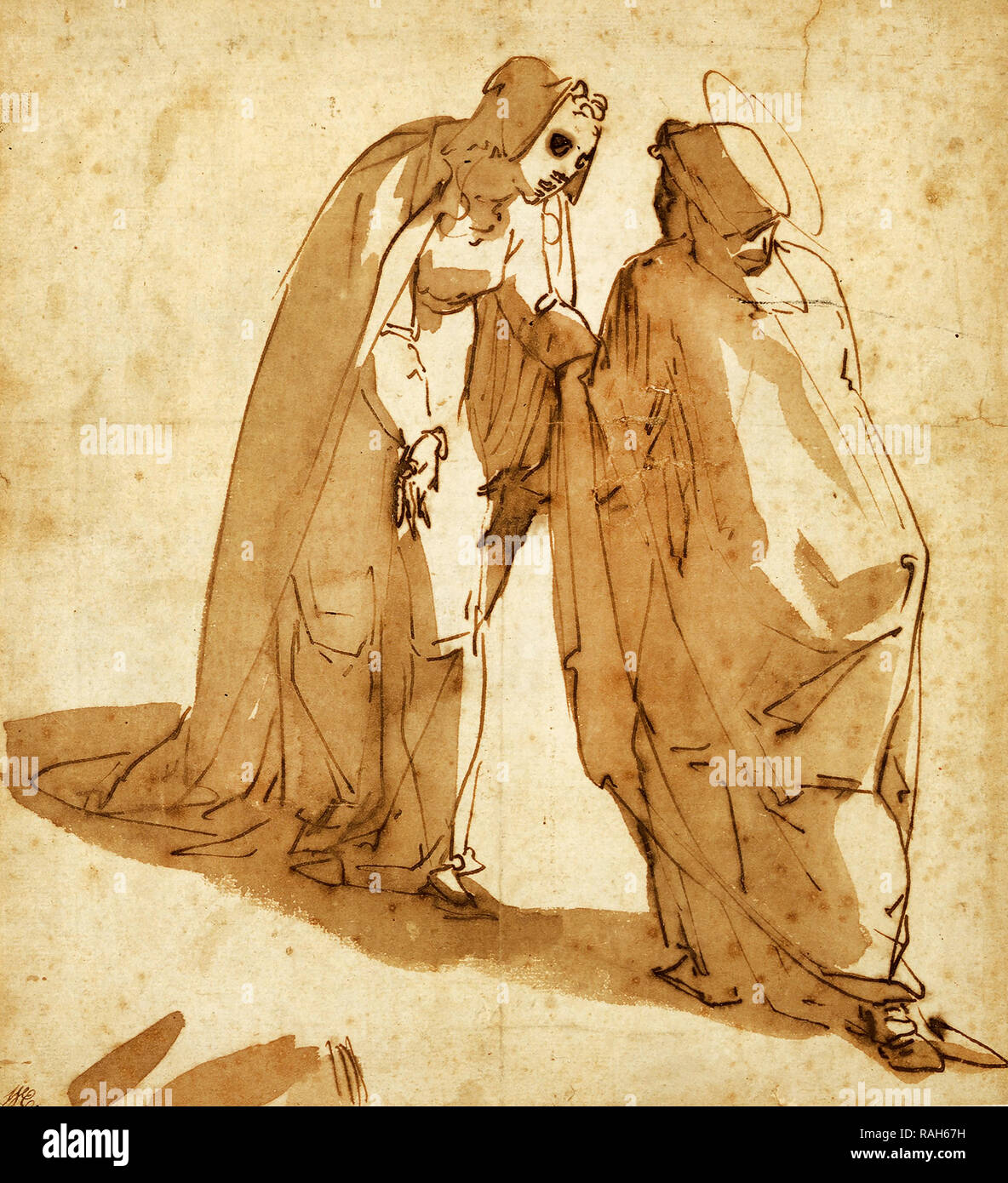 Luca Cambiaso, The Visitation, Circa 1580, Pen, brown ink on paper, Art Gallery of South Australia. - Stock Image