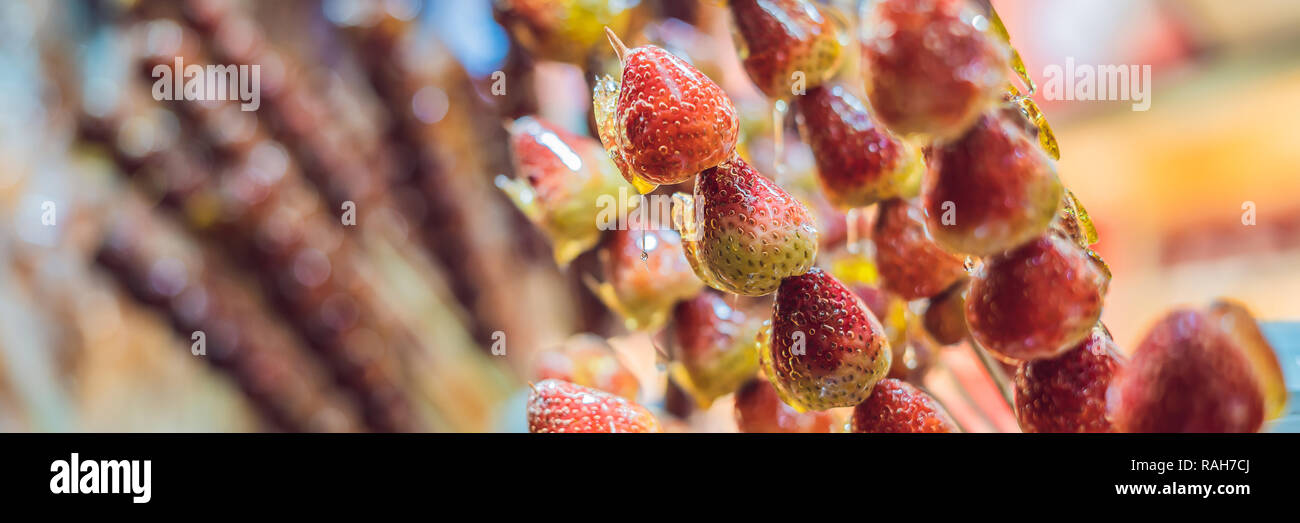 Chinese Candied Fruits And Berries Hawthorn And Strawberries In