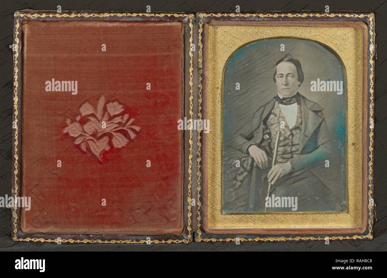 Portrait of a Man in Gold-tinted Waistcoat, Mexico, about 1850s, Hand-colored Daguerreotype. Reimagined - Stock Image
