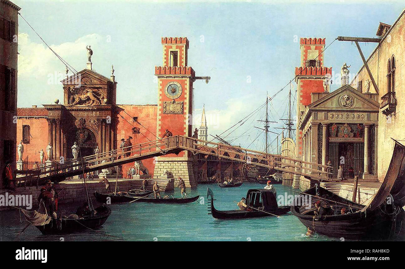 View of the entrance to the Arsenal by Canaletto, 1732 - Stock Image