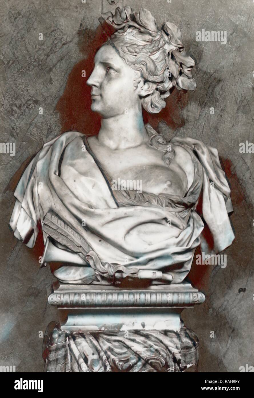 17th century marble bust School of Bernini, The French and Company photographic archive of fine and decorative arts reimagined - Stock Image