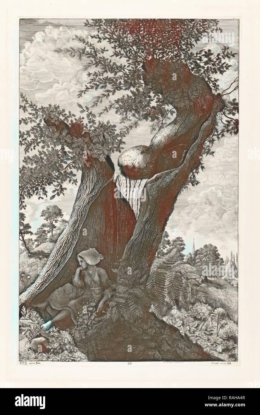 Le gros chêne creux, étude prise à Sautron, Phélippes Beaulieux, Emmanuel, 1829-1874, 1858. Reimagined - Stock Image