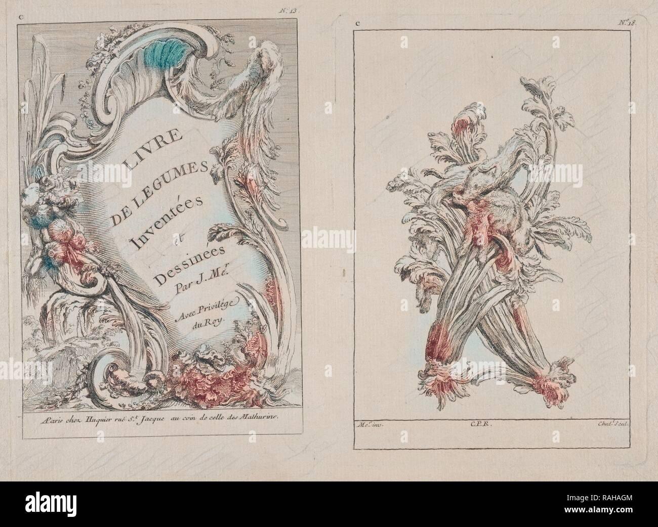 Plates C13 and C18 from the Livre de légumes inventées et dessinées par J. Me.r, Chedel, Pierre Quentin, 1705-1763 reimagined - Stock Image