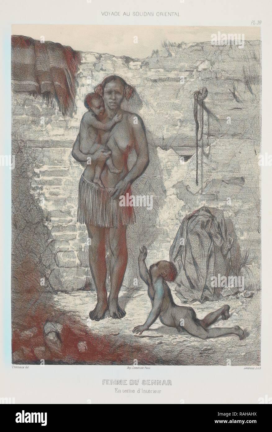 Femme du Sennar, Voyages au Soudan oriental et dans l'Afrique septentrionale, exécutés de 1847 à 1854, Trémaux, P. ( reimagined - Stock Image