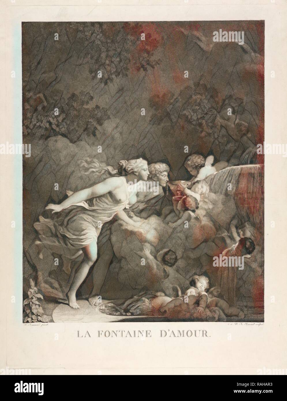 The Fountain of Love, Fragonard, Jean-Honoré, 1732-1806, Regnault, Nicolas-François, 1746-ca. 1810, Stipple engraving reimagined Stock Photo