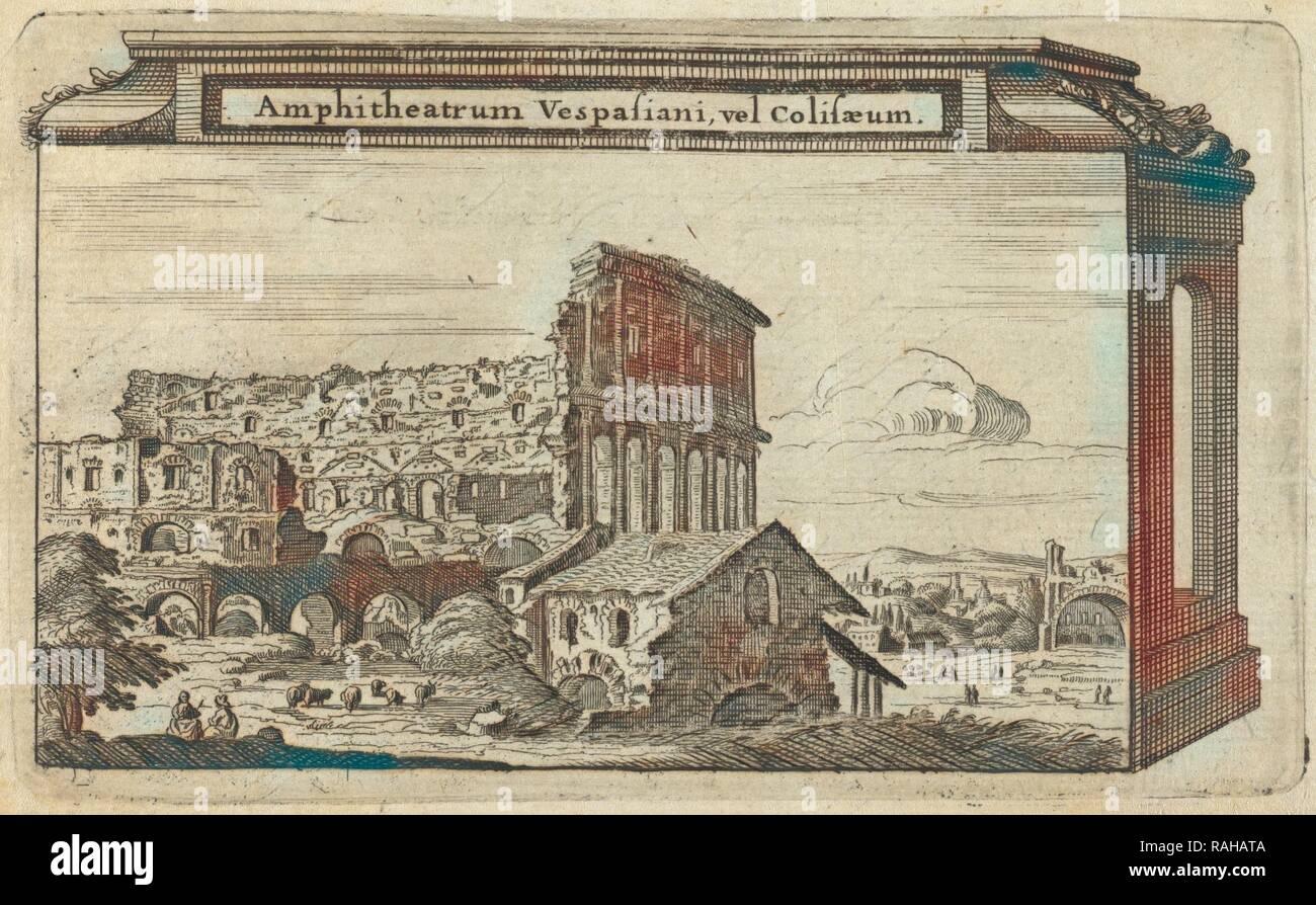 Amphitheatrum Vespasiani, vel Colisaeum, L'ancienne Rome: la principale des villes de l'Europe, avec toutes ses reimagined - Stock Image