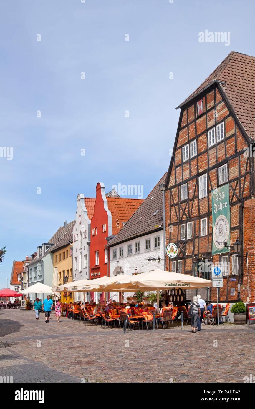 Restaurants, Am Lohberg street, Wismar, Mecklenburg-Western Pomerania - Stock Image