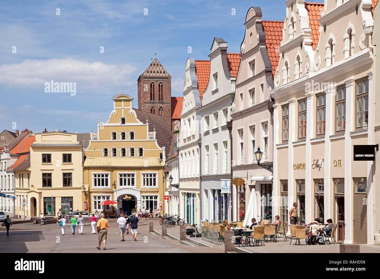 Kraemerstrasse street, Wismar, Mecklenburg-Western Pomerania - Stock Image