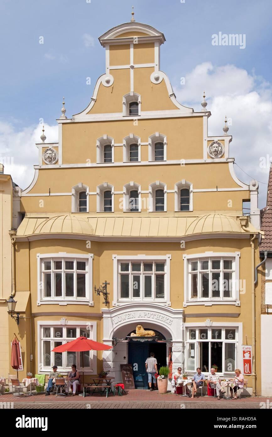 Loewen-Apotheke, pharmacy, Kraemerstrasse street, Wismar, Mecklenburg-Western Pomerania - Stock Image