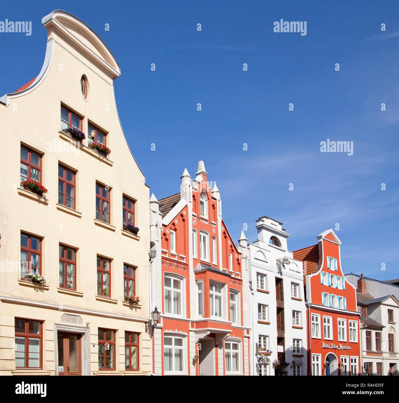 Storehouses, Rohrstrasse street, Wismar, Mecklenburg-Western Pomerania - Stock Image