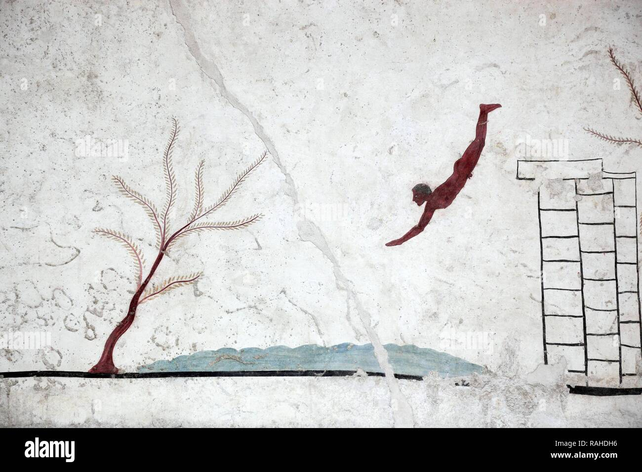 Tomba del Tuffatore, grave slab on the Tomb of the Diver, about 480 BC, Paestum, Campania, Italy, Europe - Stock Image