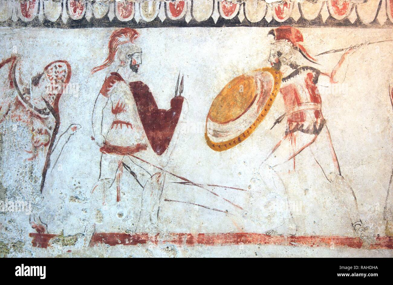 Grave painting from a chambered tomb, about 480 BC., Lucani period, Museum of Paestum, Campania, Italy, Europe - Stock Image