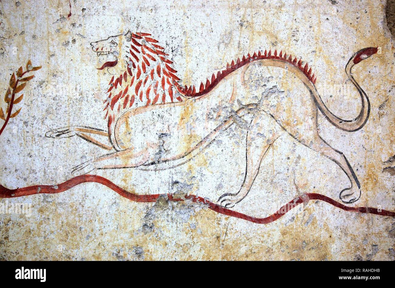 Tomb paintings in a chamber tomb, about 480 BC, Lucan times, at the Museum of Paestum, Campania, Italy, Europe - Stock Image