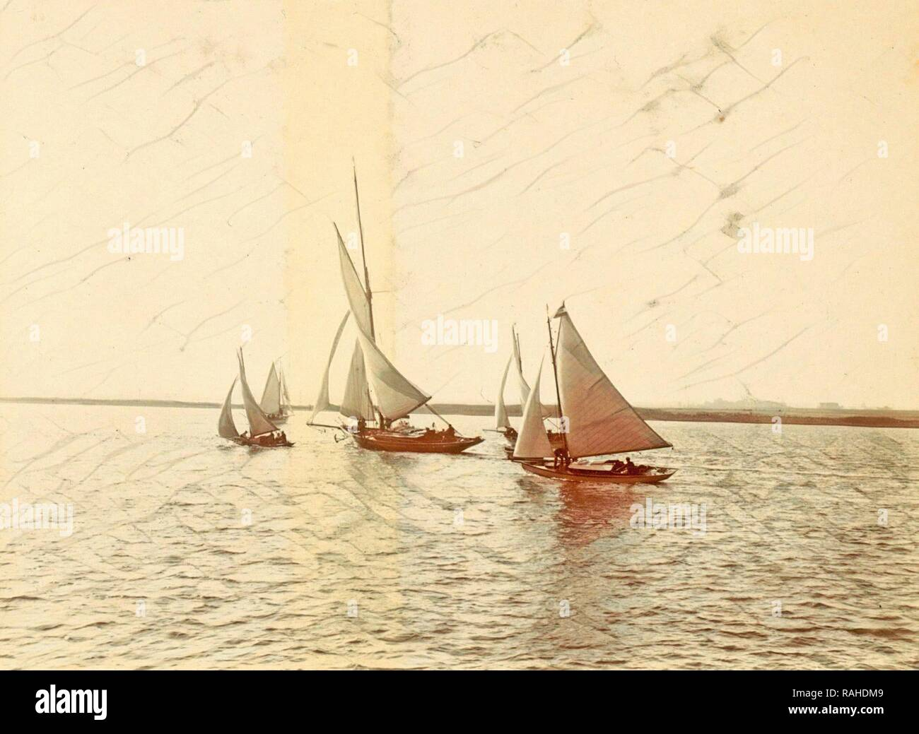 Sailing vessels on the water, Anonymous, c. 1900 - c. 1910. Reimagined by Gibon. Classic art with a modern twist reimagined - Stock Image