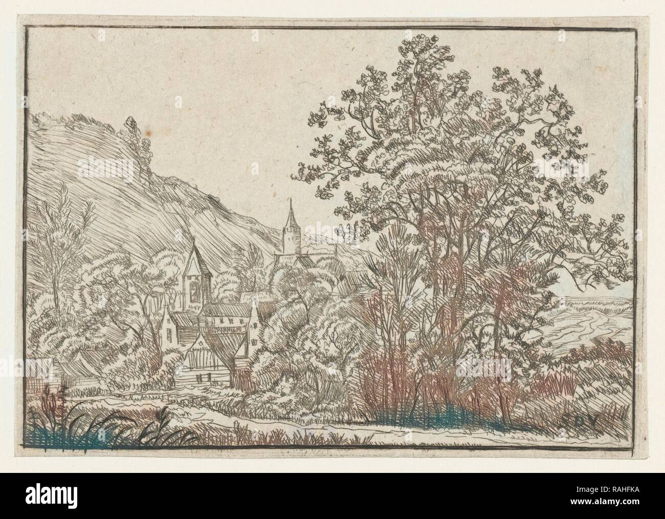 Village with two towers, Anonymous, 1610 - 1703. Reimagined by Gibon. Classic art with a modern twist reimagined - Stock Image