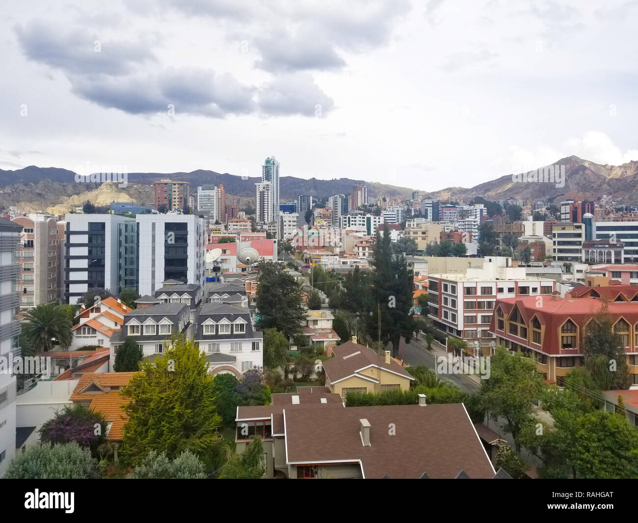 Aerial view of La Paz, Bolivia. South part of the city. South America Stock Photo