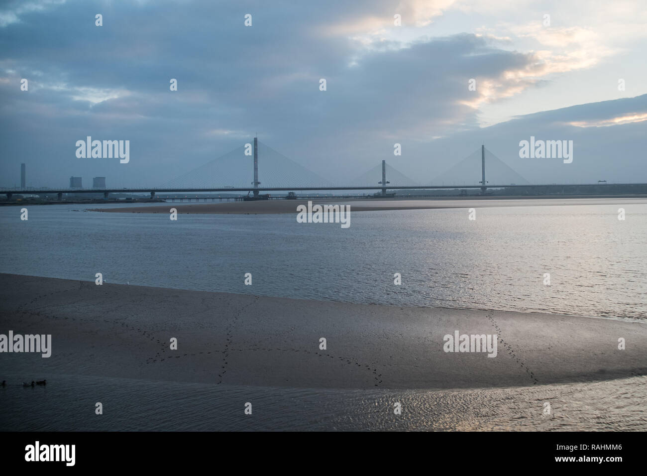 The Mersey Gateway Bridge construction, 2014-2017. Various stages of the construction of the bridge between Widnes & Runcorn (Halton) on River Mersey - Stock Image