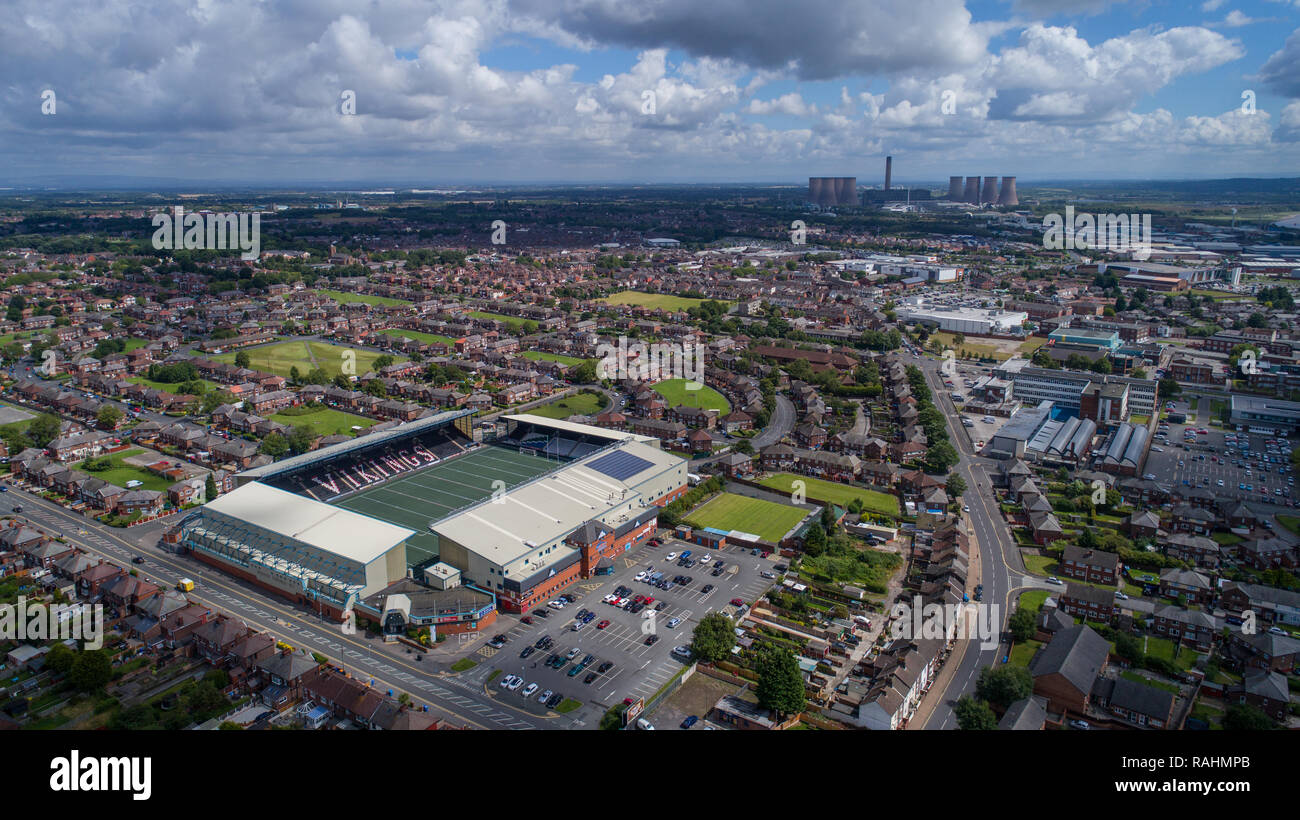 Halton Stadium, home of the Widnes Vikings RLFC, Widnes FC, a multipurpose football and rugby venue with all weather artificial grass in Cheshire - Stock Image
