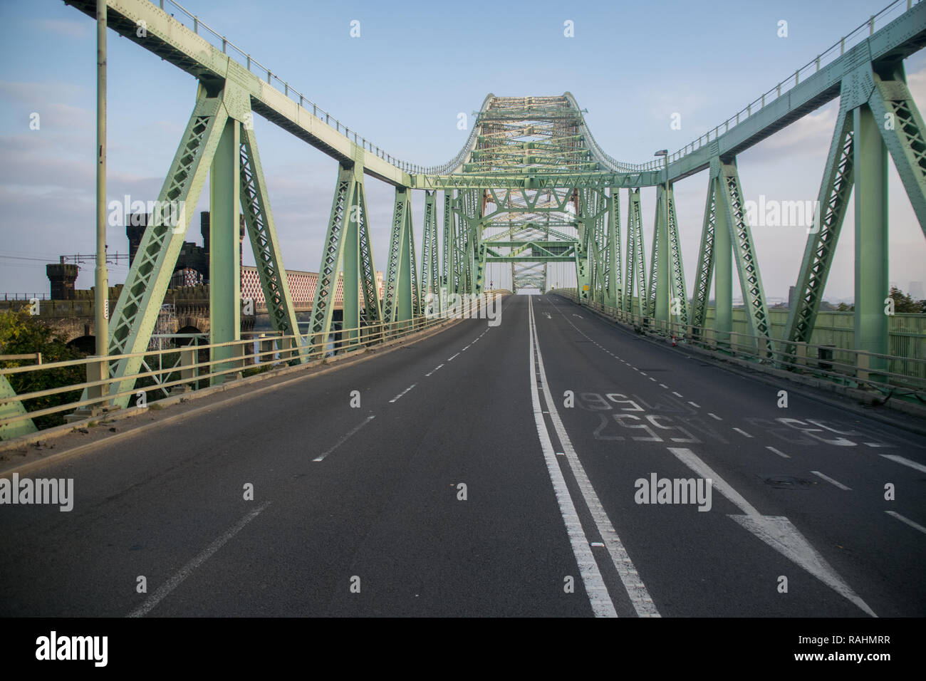 Silver Jubilee Bridge spanning Halton (Widnes and Runcorn), a through arch bridge constructed in 1961.  Currently closed for renovation until 2020 - Stock Image