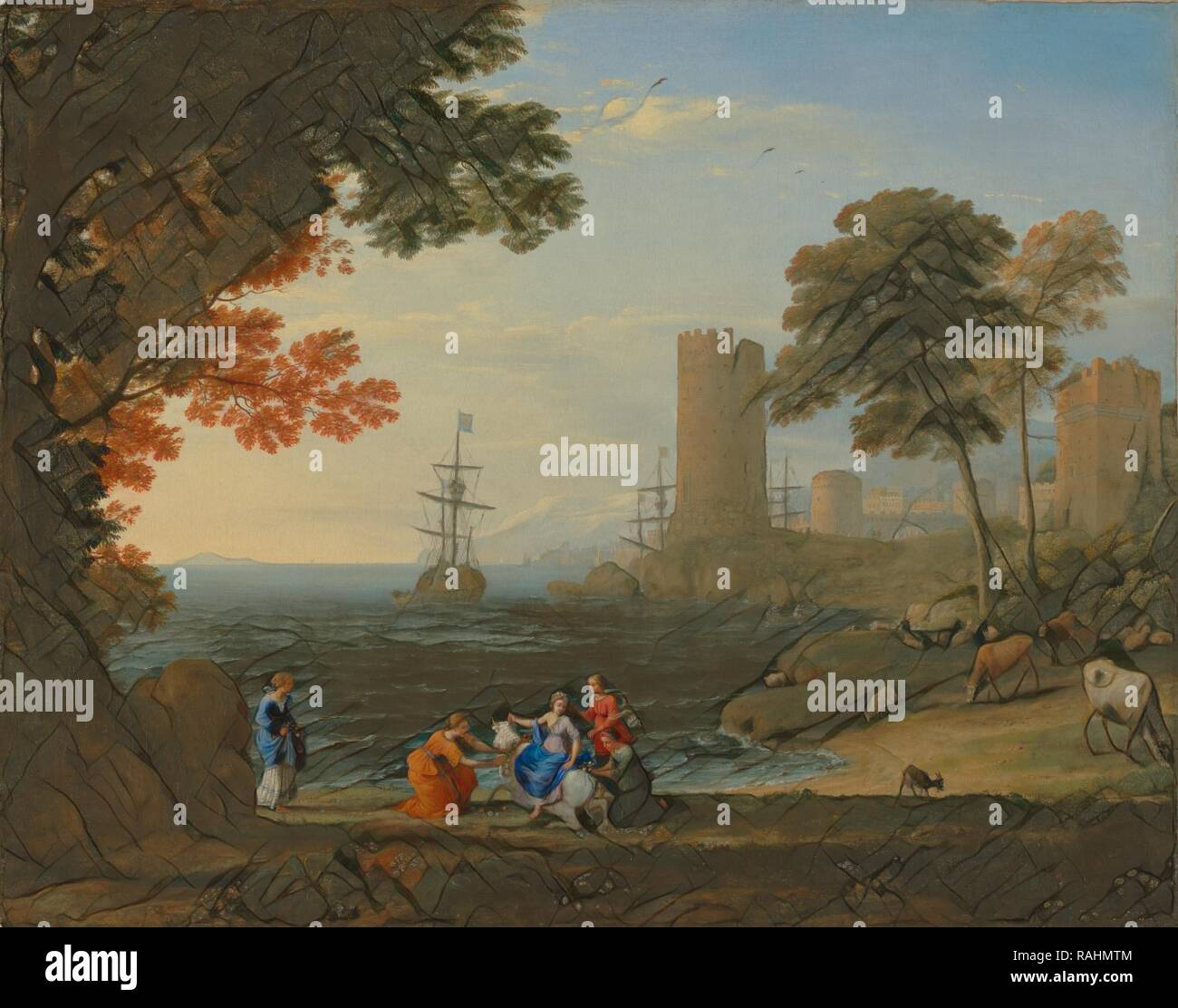 Coast View with the Abduction of Europa, Claude Lorrain (Claude Gellée) (French, 1604 or 1605 ? - 1682), Rome, Italy reimagined - Stock Image