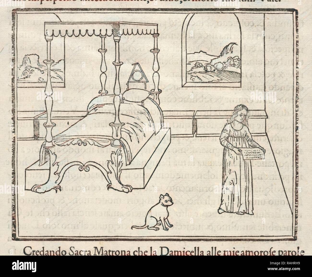 Woman and Dog in Domestic Interior with Landscape Views, La Hypnerotomachia di Poliphilo: cioè pvgna d'amore in sogno reimagined - Stock Image