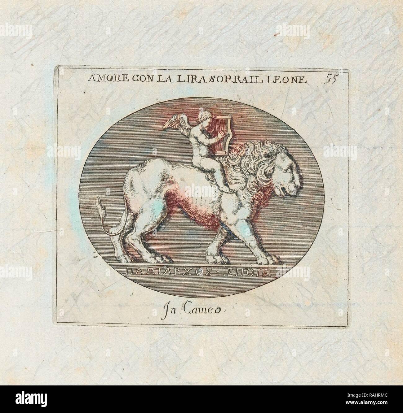 Amore Con La Lira Sorrail Leone: In Cameo, Le gemme antiche figurate, Agostini, Leonardo, 1593-ca. 1670, Bellori reimagined - Stock Image