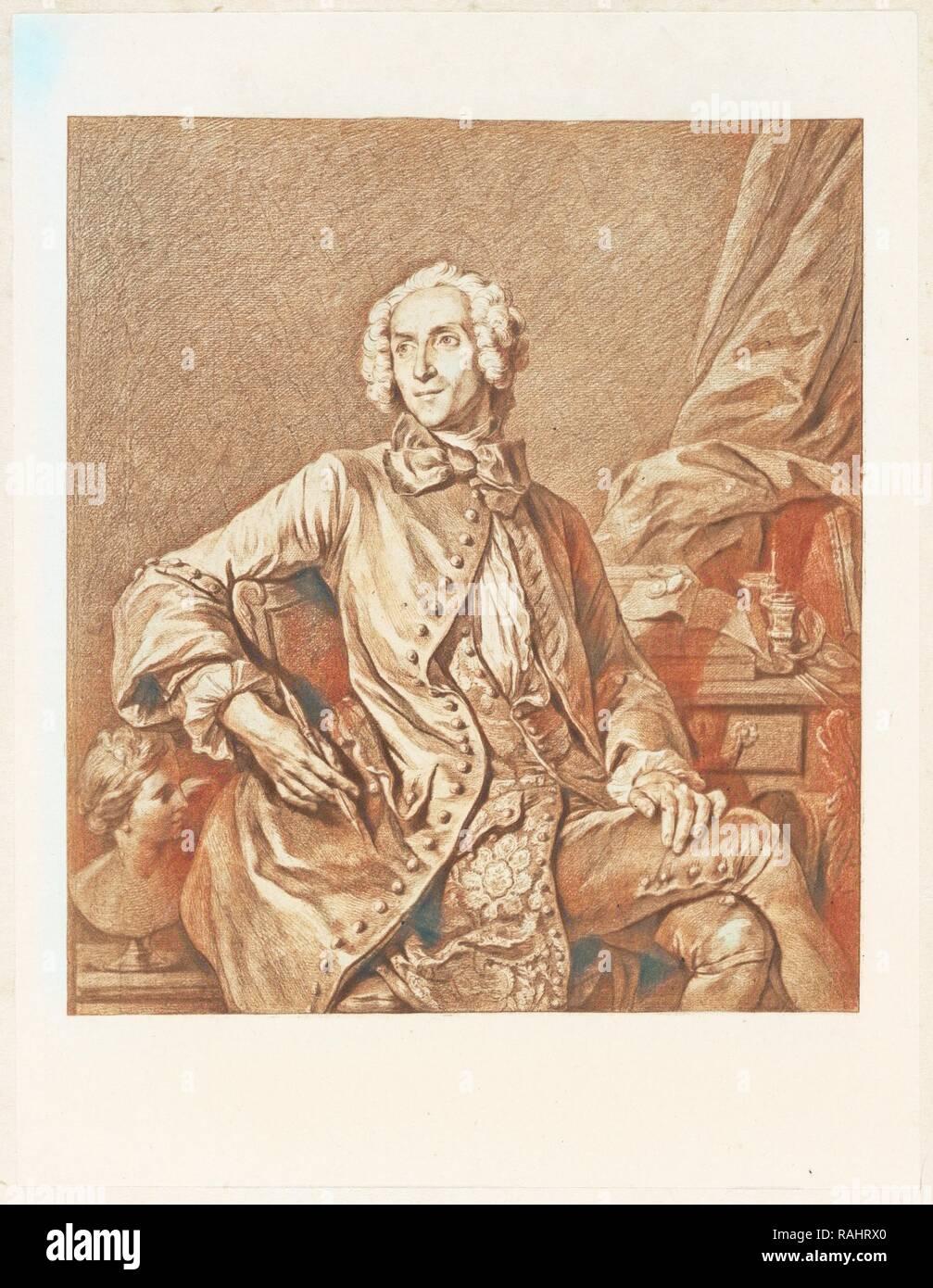 Self-portrait of the artist, Un artiste oublié: J. B. Massé, peintre de Louis XV, dessinateur, graveur, Massé, Jean reimagined - Stock Image