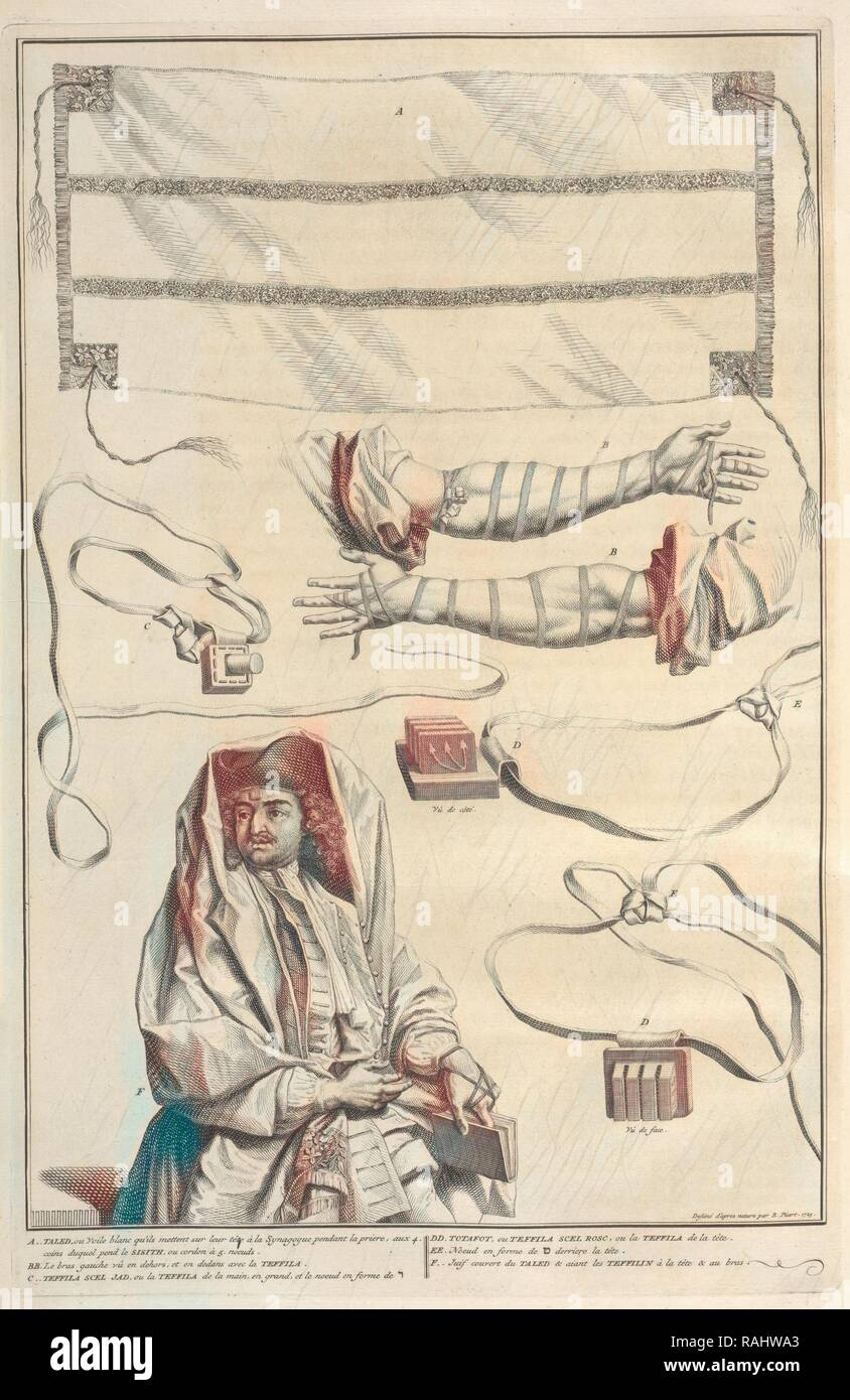 Tzitzit, Tefillin, and Some Other Customs of Prayer, Tallit, Tzitzit, Tefillin, and Some Other Customs of Prayer reimagined - Stock Image
