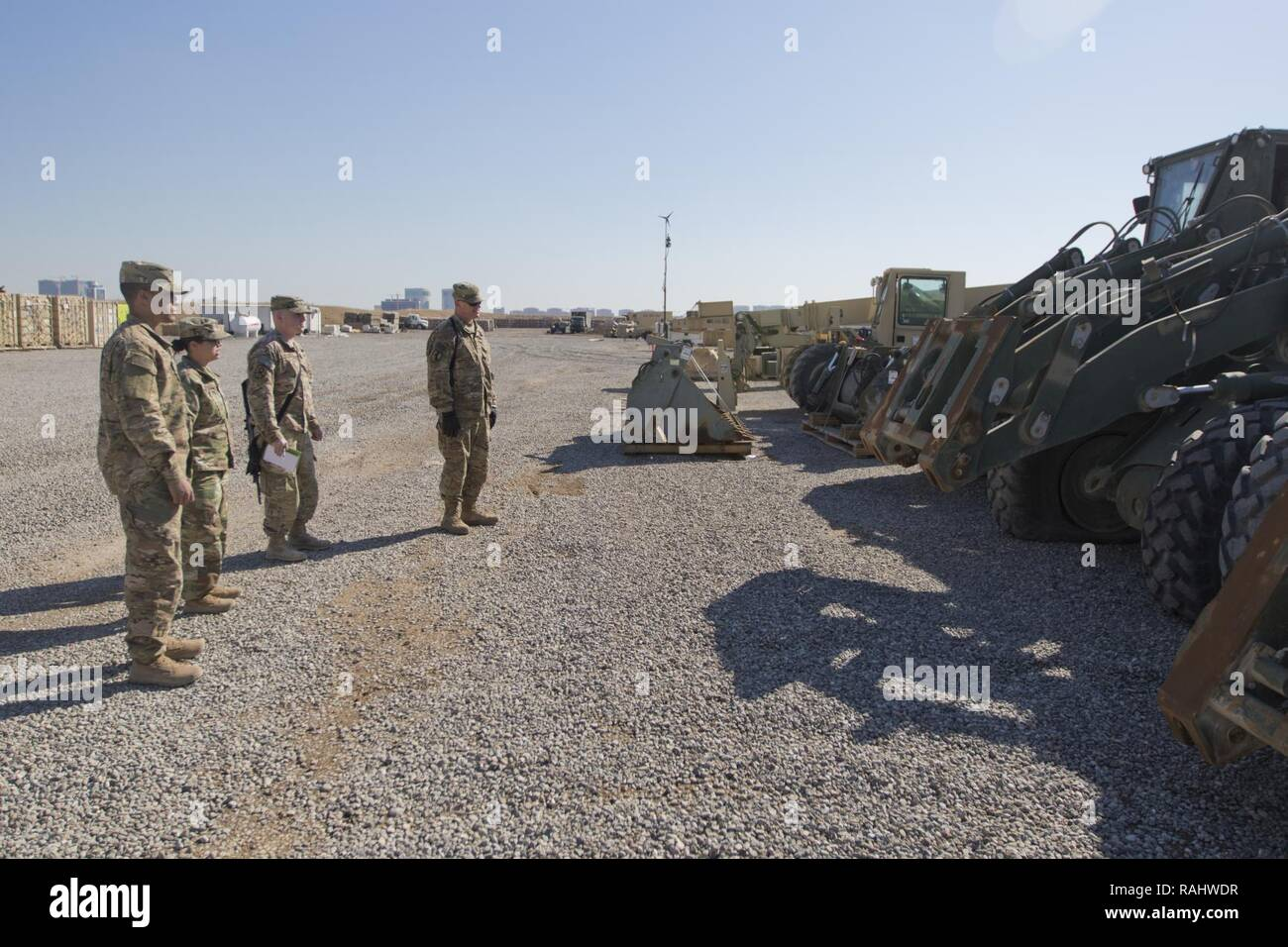 Brig. Gen. Robert D. Harter, deputy commanding general of the 1st Sustainment Command (Theater) / commanding general of the 316th Sustainment Command (Expeditionary), inspects the Movement Control Team's staging yard at Erbil, Iraq, on February 3, 2017. - Stock Image