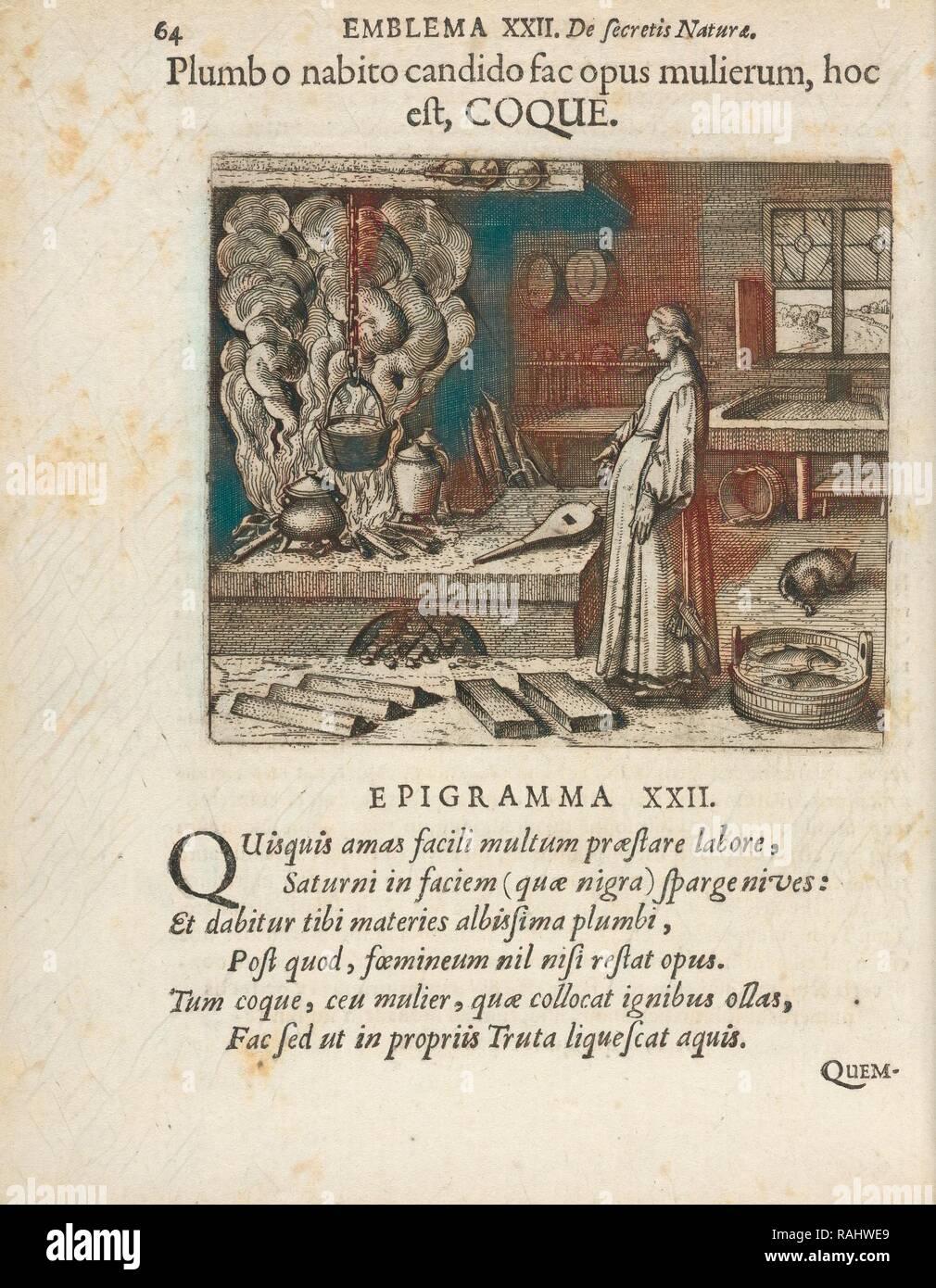 Emblema XXII: Plumb o nabito candido fac opus mulierum, hoc est, COQUE. Michaelis Majeri, Secretioris naturae reimagined Stock Photo