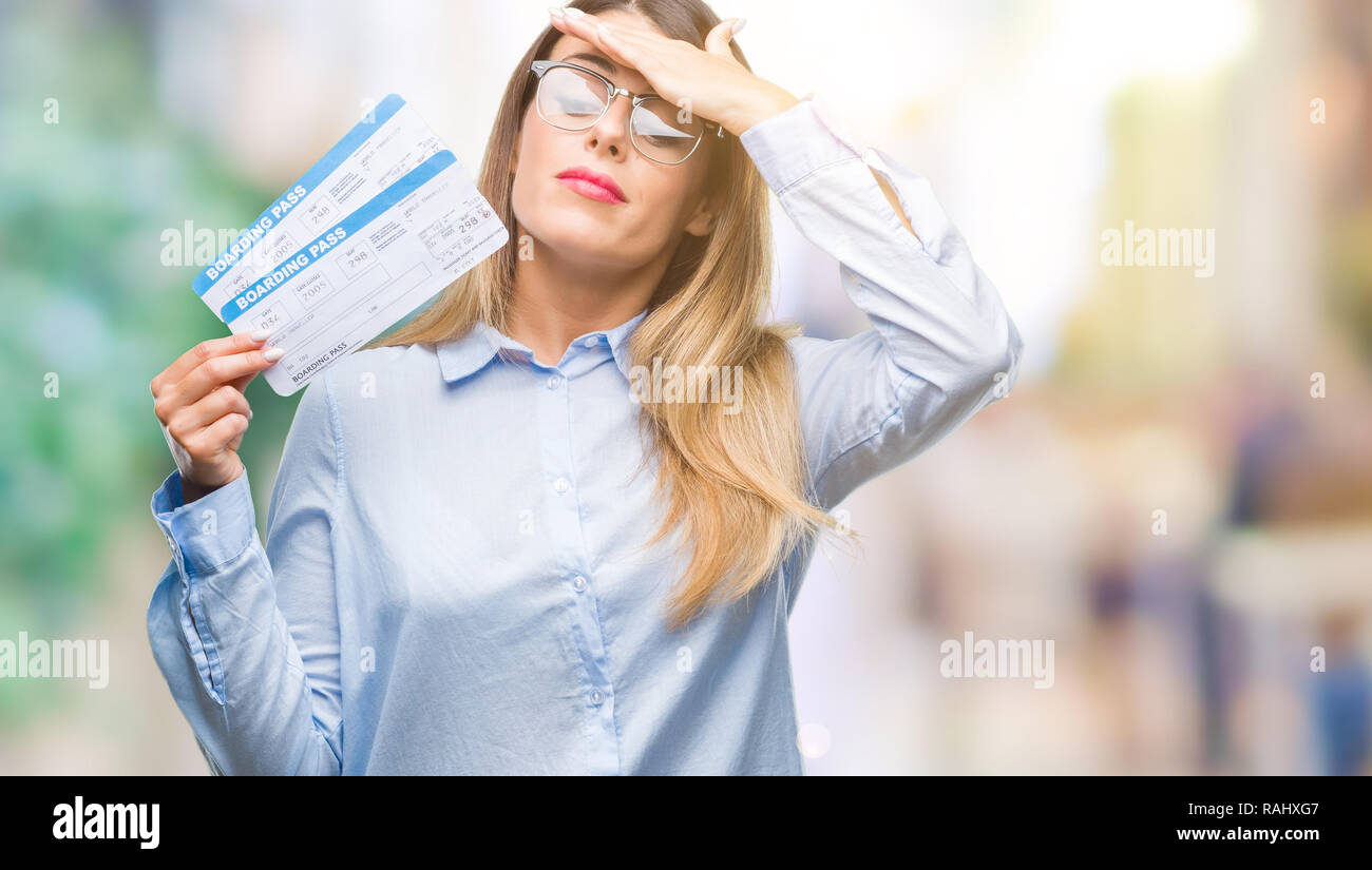 Stressed Out Students How Boarding >> Young Beautiful Woman Holding Boarding Pass Over Isolated Background