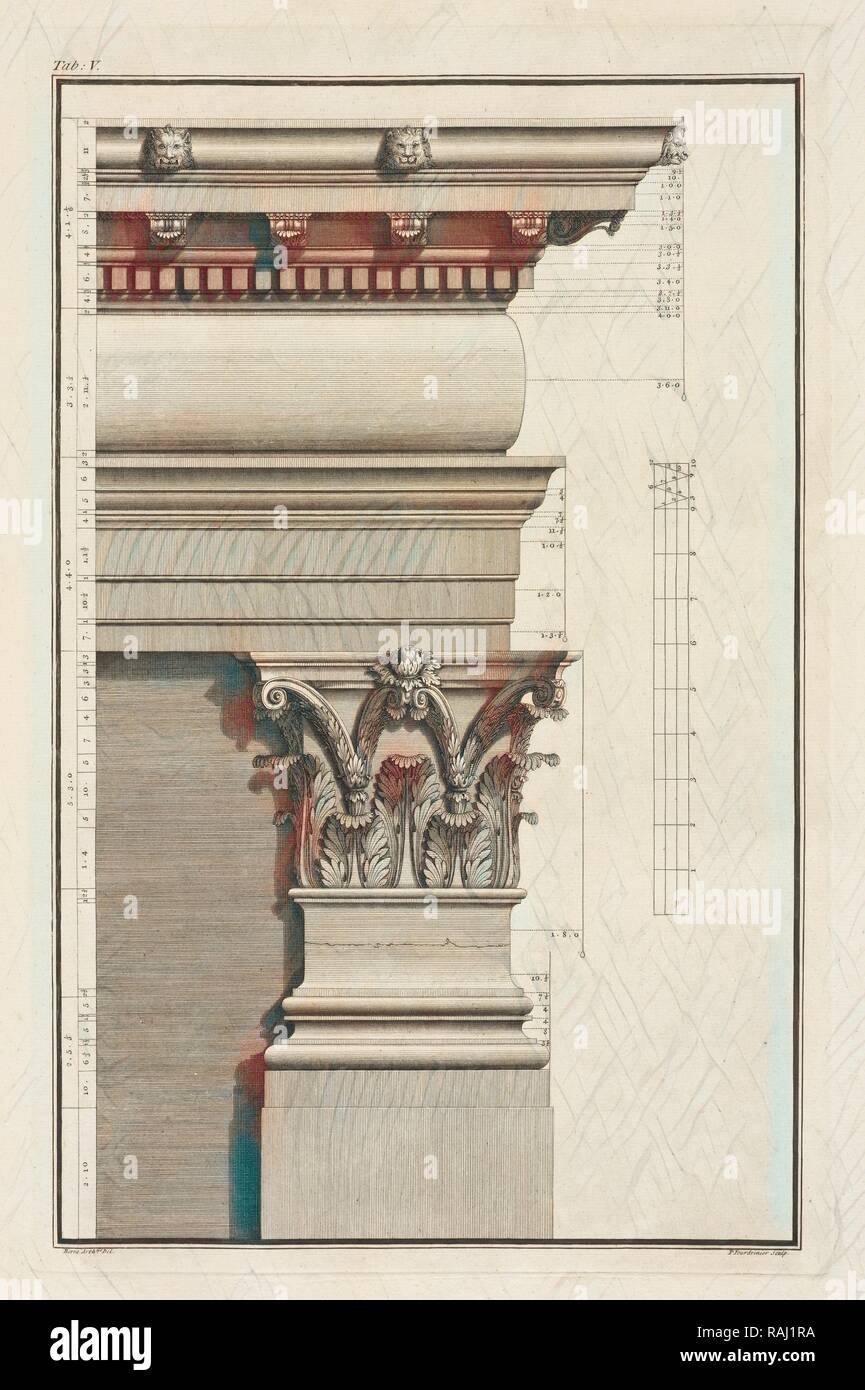 Capital and Entablature of the Pilaster, in the Foregoing Plate, Base, Capital and Entablature of the Pilaster, in reimagined - Stock Image