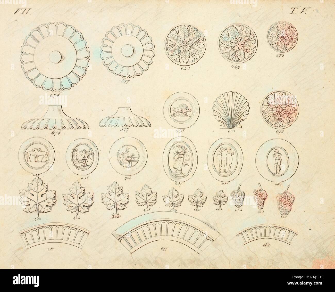 Shell and floral ornaments, Abbildungen von geprägten Ornamenten: Heft I-XII, Bruckmann, Peter, Engraving, between reimagined - Stock Image
