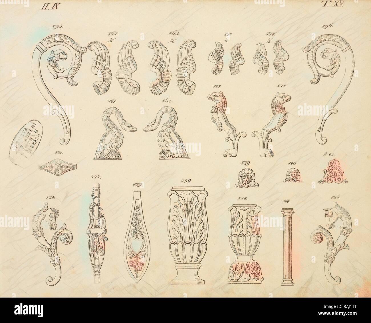 Animal and floral ornaments, Abbildungen von geprägten Ornamenten: Heft I-XII, Bruckmann, Peter, Engraving, between reimagined - Stock Image