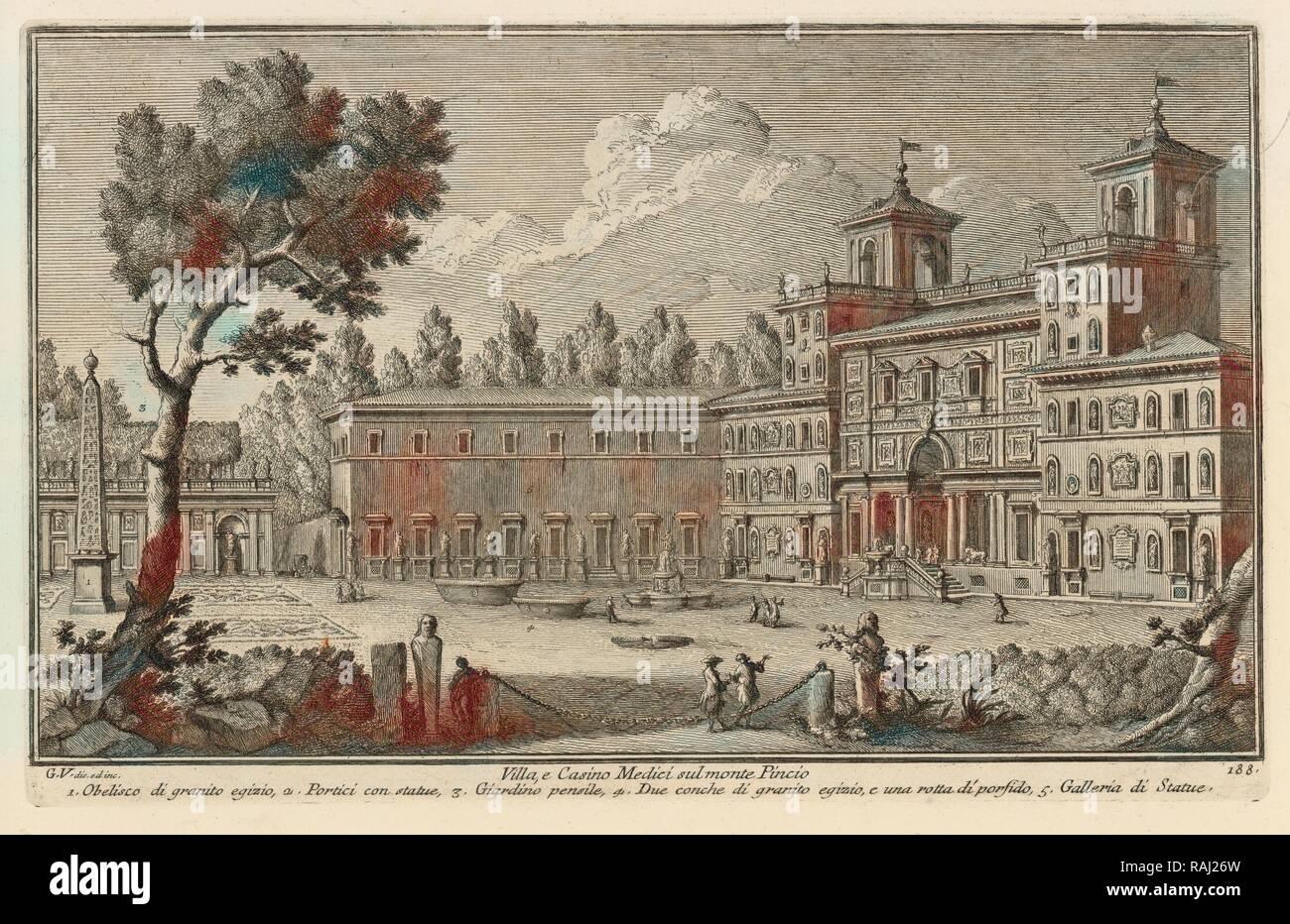 Villa, e Casino Medici sul monte Pincio, Delle magnificenze di Roma antica e moderna, Vasi, Giuseppe, 1710-1782 reimagined - Stock Image