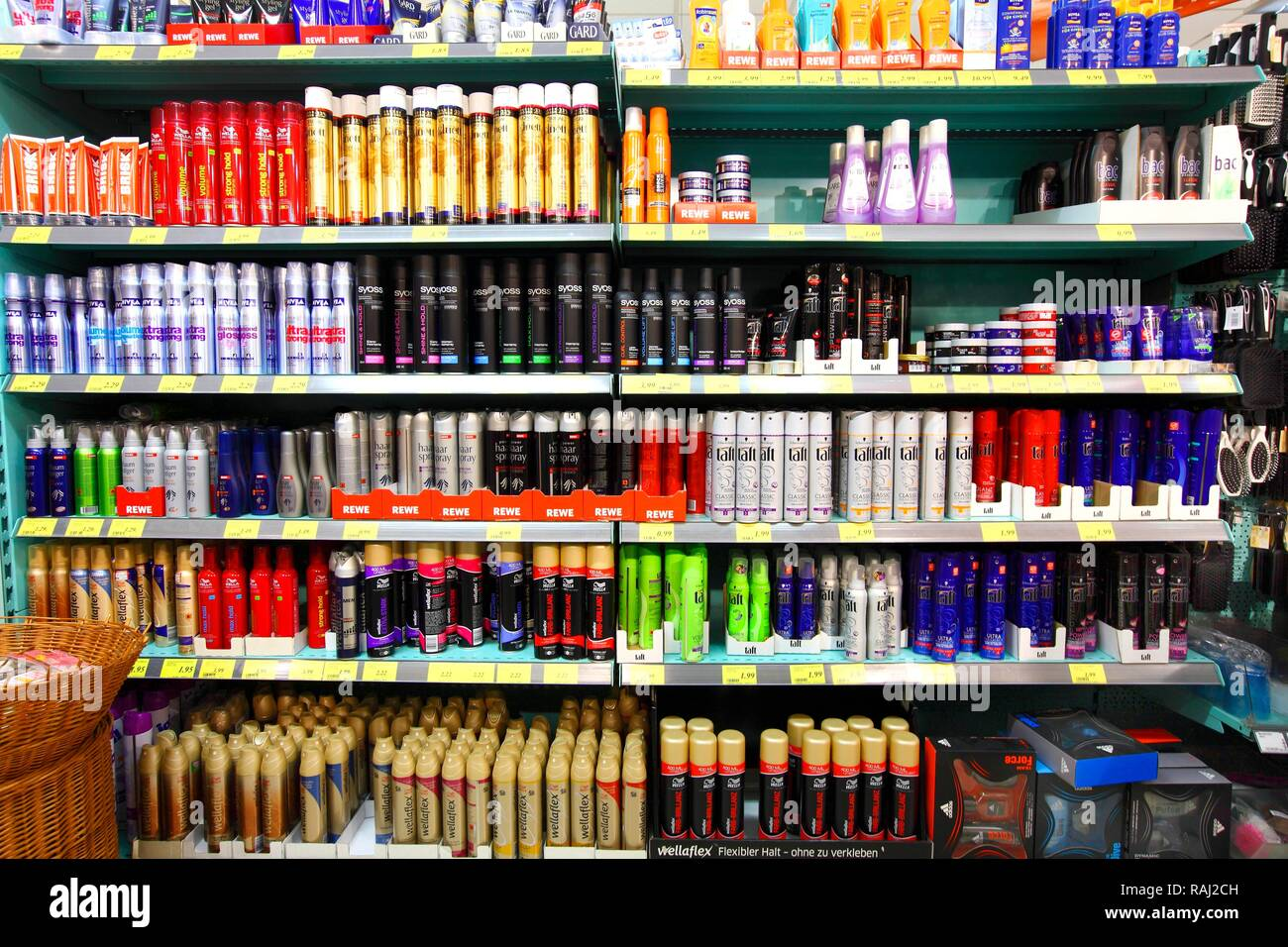 Hair care products, shelves, self-service - Stock Image