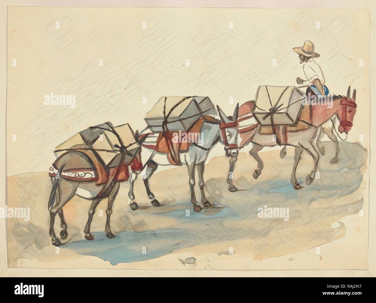 El Arriero, mules laden with cases of goods, led by a mulateer, Lima costumes, ca. 1853, Fierro, Pancho, 1803-1879 reimagined - Stock Image