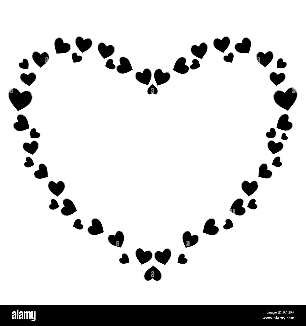 Cute Black Hearts Photo Frame For Valentines Love Romance