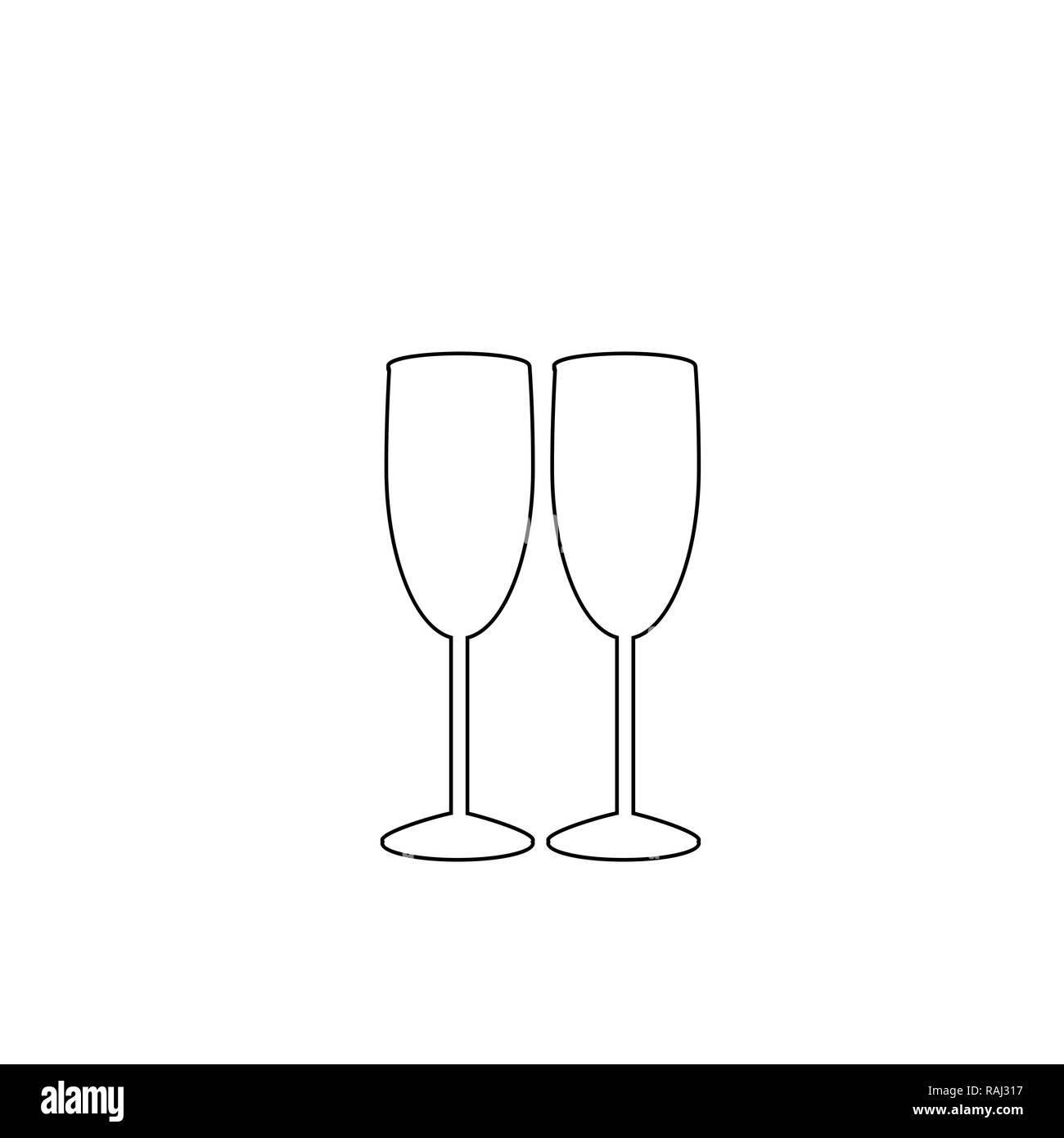 42122123316 Black outline silhouette of couple champagne or wine glasses on white  background. Cheers icon. Fragile or packaging glass symbol, sign, clipart.  Monoc